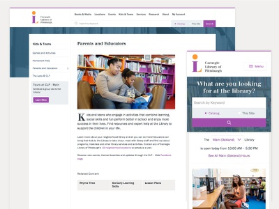 Carnegie Library of Pittsburgh Redesign web pittsburgh redesign library