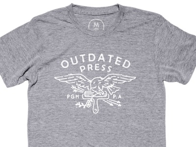 Outdated Press now threaded letterpress printing press usa t-shirt