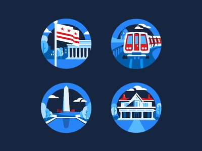 DC Badges icons badges illustration