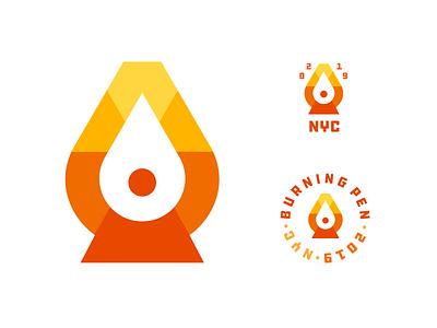 Burning Pen illustration logo