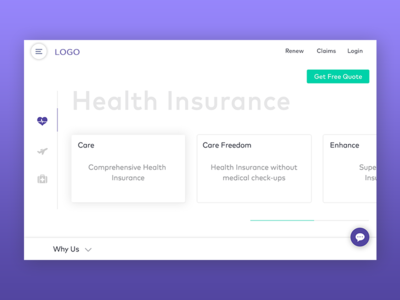 Insurance Website Landing Page  illness accident travel health insurance interface white violet website landing browser