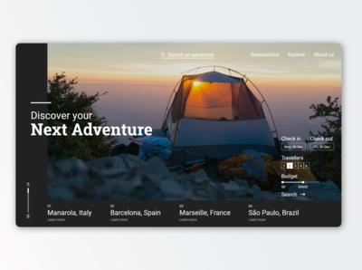 Adventure tourism website concept