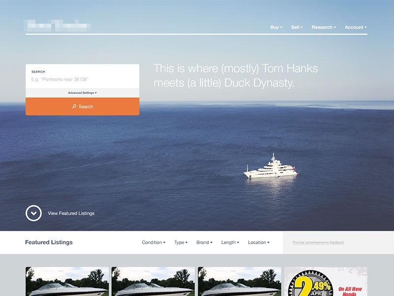 Boats Website boats header hero search advanced website web design navigation full page