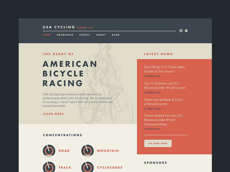 USA Cycling Web idea cycling bicycle concept cycle web ui ux user interface