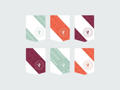 Pennants and Flags illustration argyle pattern flags banners logo branding flat