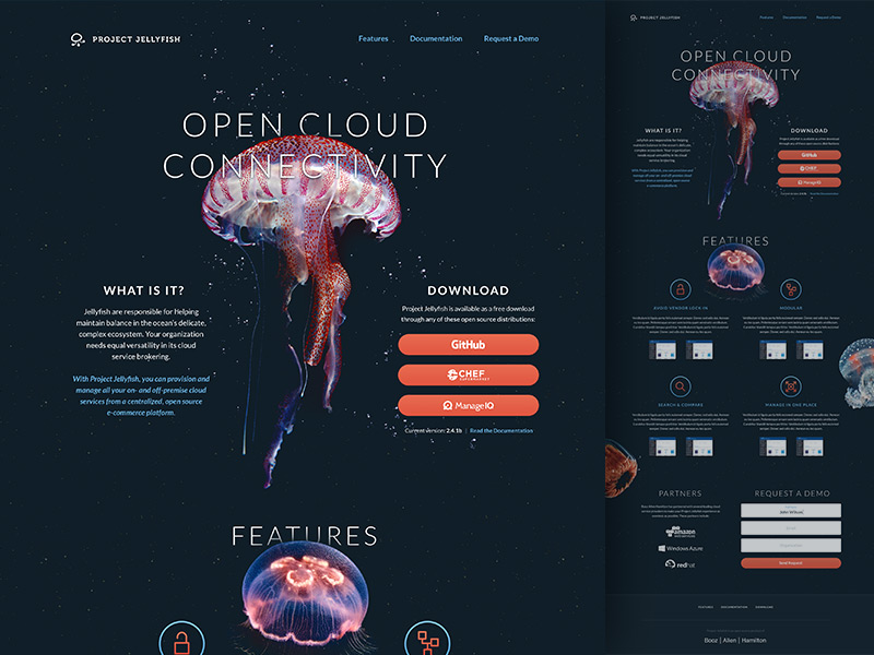 Project Jellyfish web parallax photography imagery gradients shadows ui marketing site