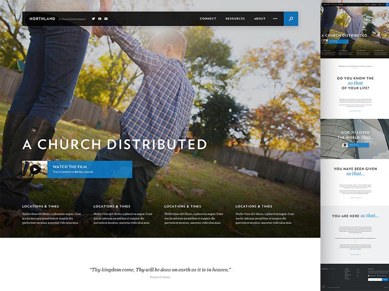 """Church of Churches"" ux ui navigation sentinel verlag story marketing website church"