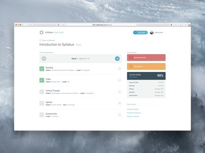 Syllabus • Student Interface