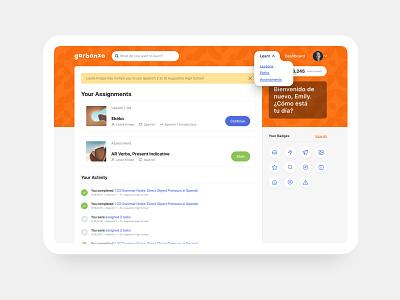 Garbanzo Dashboard spanish learning education application design app ux ui web