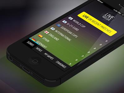 Live Soccer iOS app concept ios soccer app live score iphone ui flat
