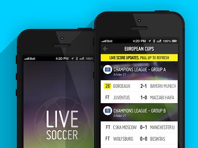 Live Soccer iOS app concept flat ui iphone live score app soccer ios