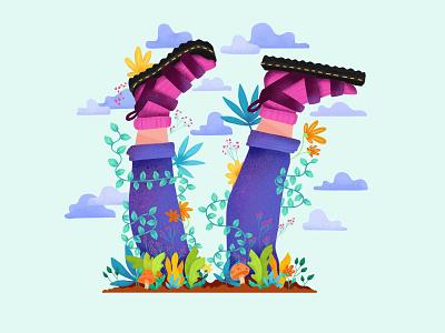 Spring seasonal nature complimentary plants colorful design illustration