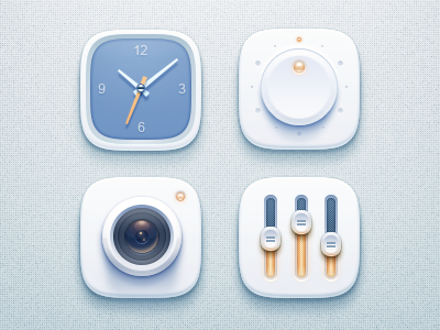 simple icons clock switch setting camera indication highlight lens flare