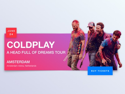 Coldplay Tickets UI Concept illustration gradient clean web raff hbb concerts tickets amsterdam blue pink minimal coldplay ux ui