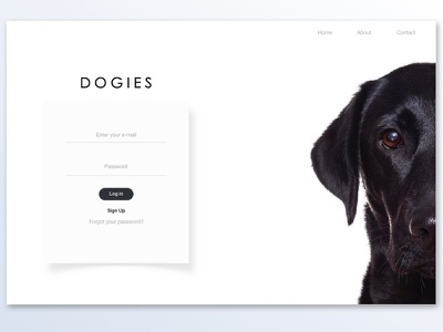 Dogies Sign in / Login design clean web raff hbb dog login signing dogies minimal dogs white black ui ux