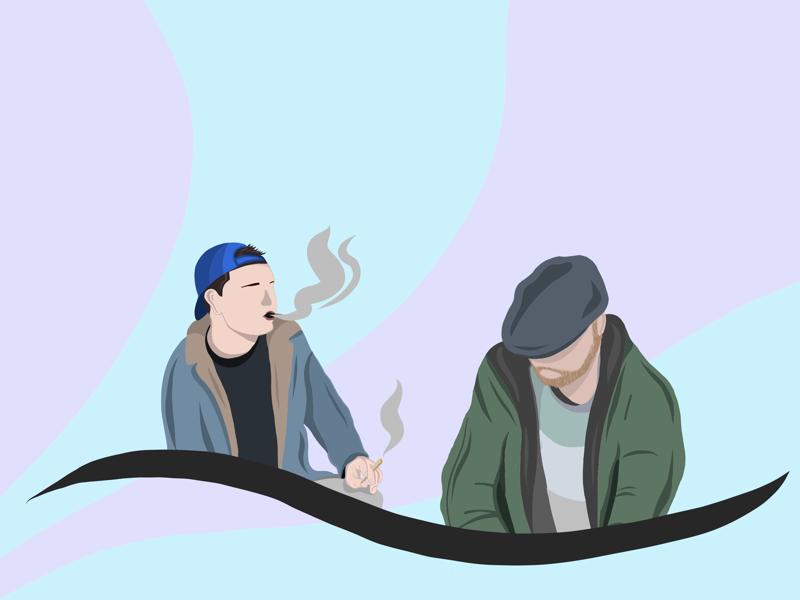 H U S T L I N design graphic artwork minimalism pastel shadow people minimal hustle smoke illustrator illustration art vector