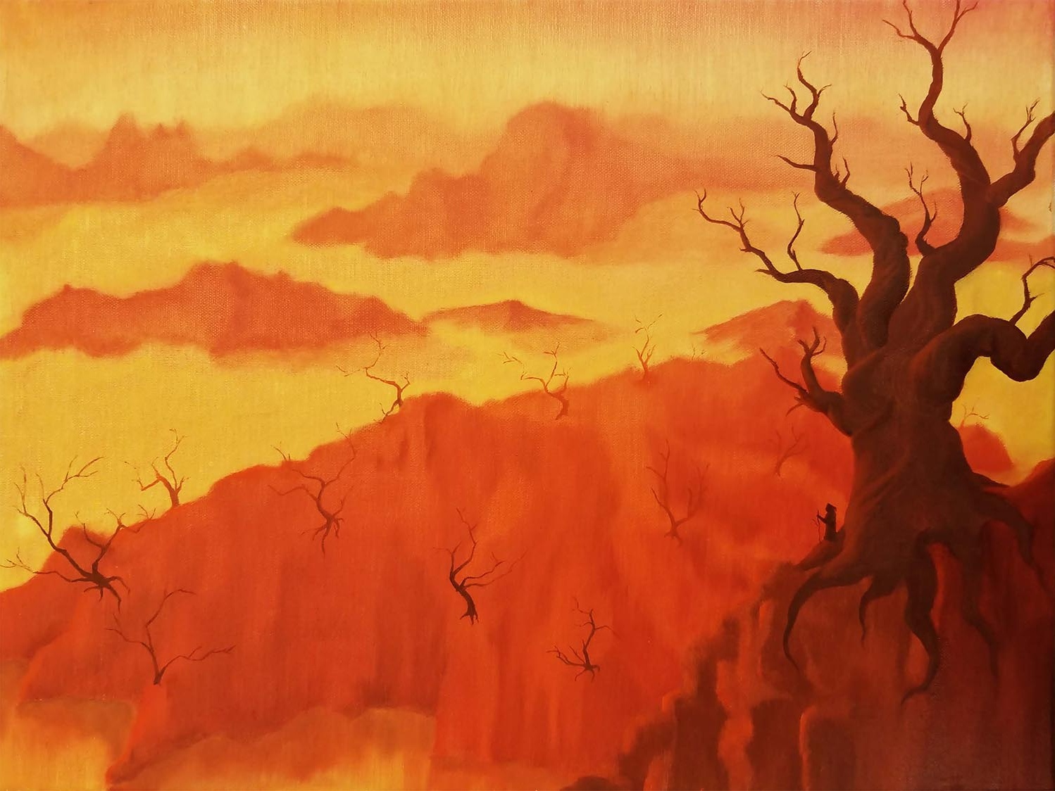 The Arrival book art warm colors tree desert painting design illustration