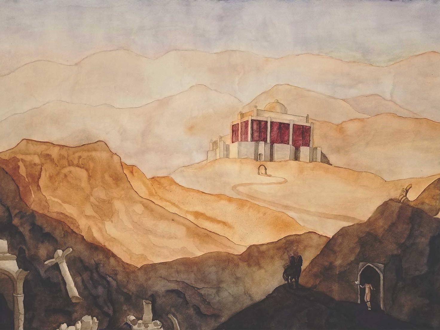 The Great Desert City warm colors landscape illustration landscape watercolor art watercolor painting book art desert illustration