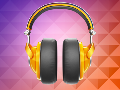 Google Play Music Icon icon google play music shine triangle headphones yellow chrome