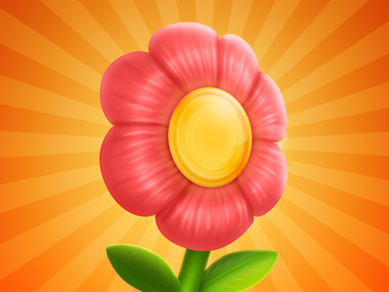 Run Flower iOS Icon flower ios icon green plant yellow rays sun run shine