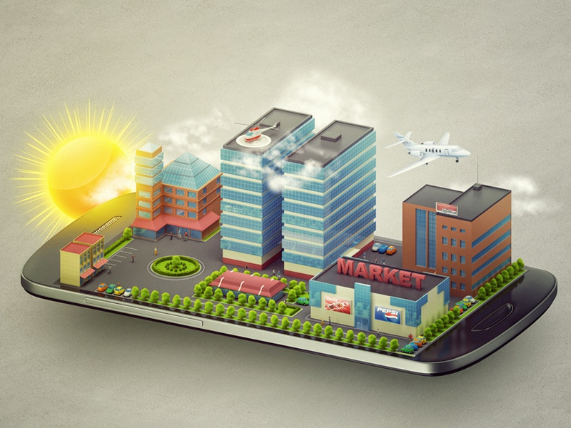 Illustration for mobile application promo site. illustration mobile phone city sun market town app promo