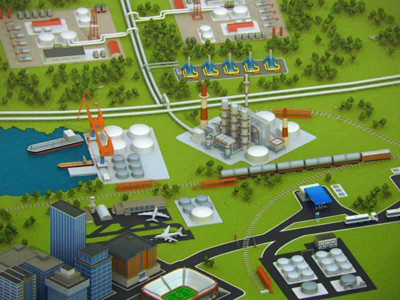 Illustration of oil transportation 3d oil city transportation buildings oiltank sea train airplane green