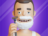 Character for shaving game icon foam character game shaving icon 3d