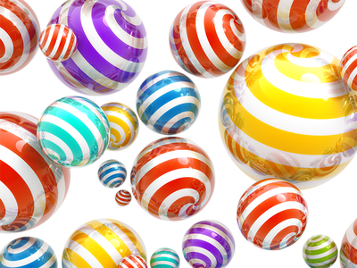 striped balls balls striped colors red yellow magenta green cyan reflections