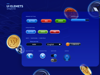 Elements for cryptocurrency game UI bitcoin cryptocurrency buttons ui game