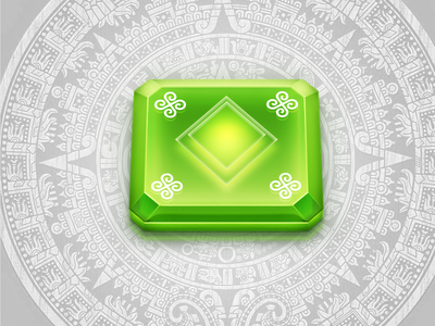 Energy crystal for a casual game crystal element green light stone game casual ancient
