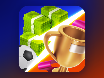 Icon for Football Manager game green money cup trophy game ball football 3d icon