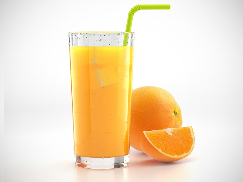 Glass of orange juice orange juice 3d render yellow glass ice