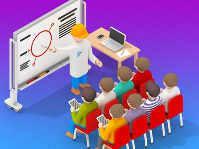 Experts training training illustration teaser workers research laboratory icon engineers