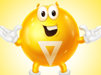 Sweet Yellow Ball Character hugs sweet face smile tellow candy ball illustration character