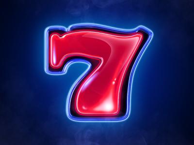 Lucky Seven symbol glow symbol neon blue icon slots seven