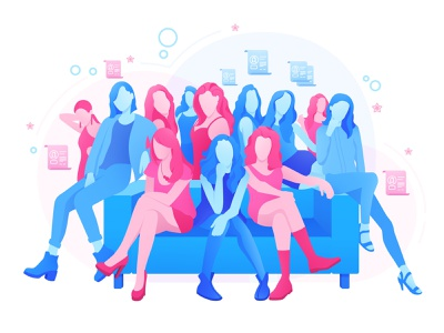 Girls illustration sitting many flat fashion pink blue girls illustration
