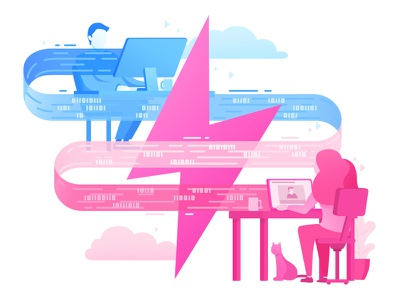 Illustration of high-speed connection blue pink internet data fast speed connection boy girl illustration