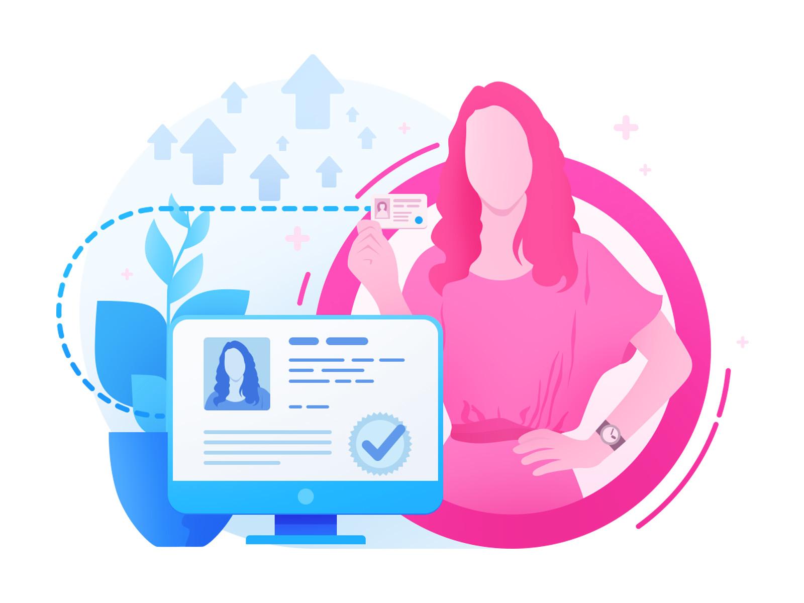 Verified profile illustration verified checked id blue pink girl profile illustration