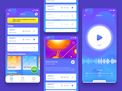 Medi — meditation application player design meditation app
