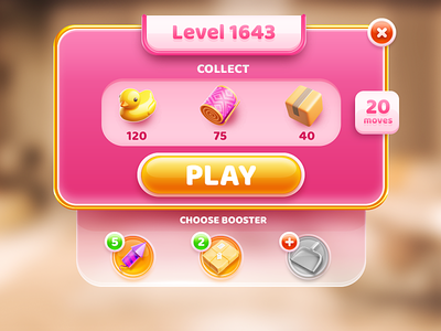Glam Match3 pink game boosters level matchbox carpet duck icon match3 glass ui