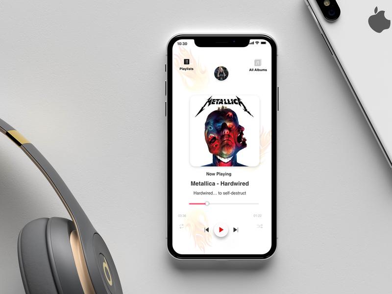 Fire Music Player musicplayer metallica music app music ios branding mockup mock up byby design mobile ui design app