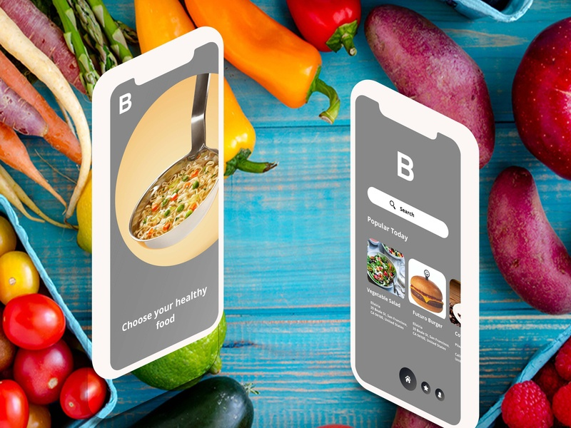 Healthy Restaurants App ui branding adobe xd byby mock up mobile design ui design app