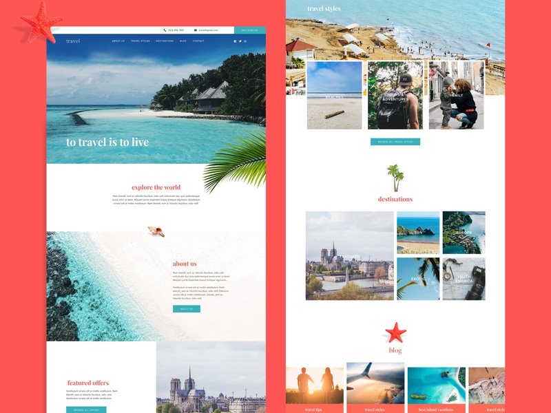 Travel Site type typography travel website travelling travel destinations ui websitedesigner website design website web ux design