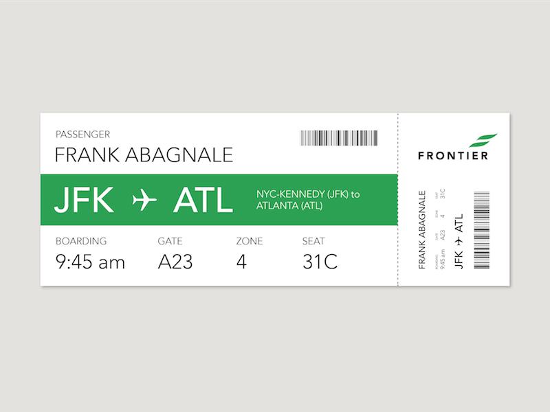 Boarding Pass identity branding design airline frontier scad