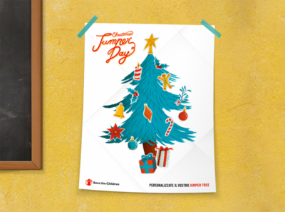 Save the Children | Christmas Jumper Day donations pack texture pattern gingerbread man christmas balls gift save the children jingle bells santa claus childrens illustration children classroom stickers christmas christmas tree graphic packaging poster illustration