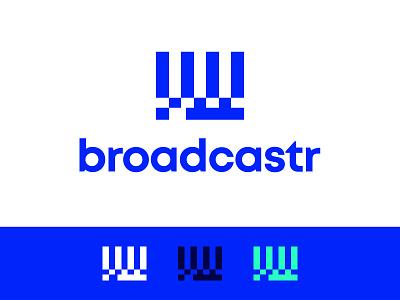 Broadcastr video brand identity branding white portugal website green logo blue