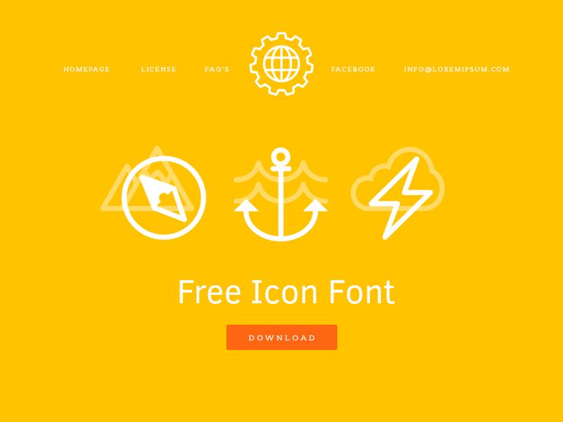 Homepage yellow orange icons font homepage white