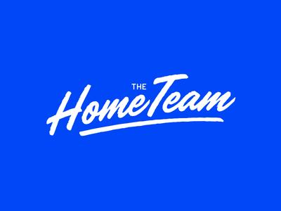 The HomeTeam logo blue white handwritten wordmark brush home team