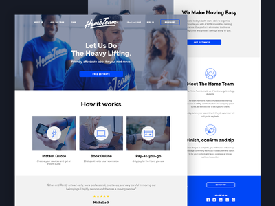 Hometeam Website company icons photography gray white moving blue hometeam landing page team home