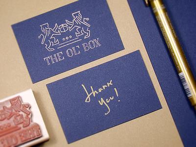 Thank You Card handwritten pen gold stamp brow kraft blue thank you cards